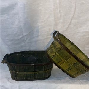 Other - Olive Green Woven Baskets